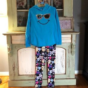 Justice hooded sweatshirt size 20 and leggings 16